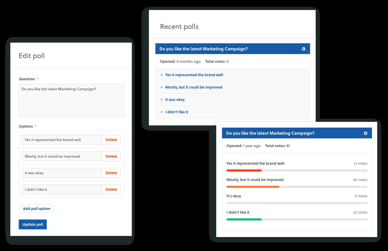 features polls surveys vote